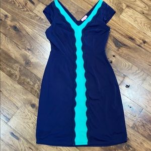 Lilly Pulitzer Kelly Green and Navy Shift Dress